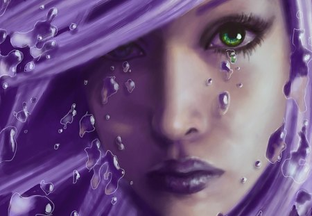 Purple Tears - crying, face, female, tears, purple, woman, eyes, cry, nose, hair, lips, sad