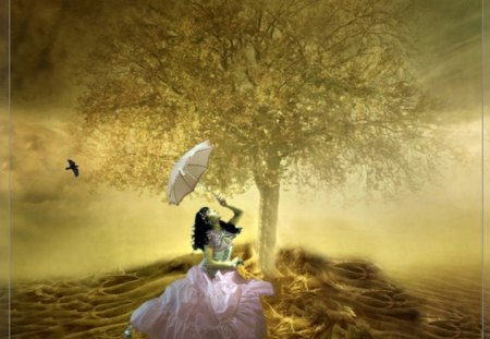 Fantasy Land - Girl with a parasol - girl, parasol, fantasy, land