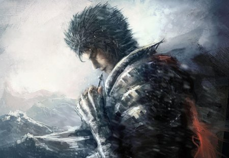 Guts - male, berserk, spiky hair, lone, anime, cross, guts, necklace, mountains, armour
