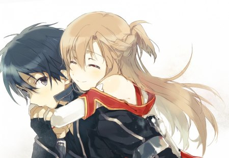 Kirigaya Kazuto & Yuuki Asuna - cool, boy, brown eyes, yuuki, nice, anime girl, cg, anime, girl, sword art online, the flash, coat, yuuki asuna, red, black, couple, brown hair, brown, kirigaya, anime boy, pretty, awesome, the black swordsman, black eyes, stunning, asuna, outfit, uniform, white, digital, kazuto, kirigaya kazuto, beauty, cute, flash, love, sao, art, hug, beautiful, amazing, closed eyes, jacket, black hair, kirito, black swordsman, artistic, married