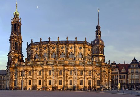 cathedral in dresden - towers, square, cathedral, moon