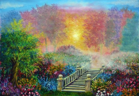 The Secret Garden - colors, beautiful, secret, garden, bridge
