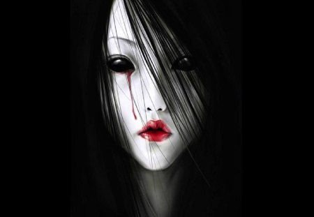 Soulless Eyes - pale dark hair, red lips, black eyes, blood