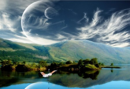 Fantasy Land - lake, bird, abstract, moons, fantasy, land