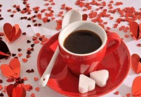 ♥ coffee with heart ♥ - cup, still life, sugar, coffee