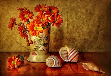 Still life - flowers, petals, beautiful, orange, pretty, harmony, wall, nice, red, delicate, daisies, freshness, lovely, vase, table, fresh, still life, shells, reflections