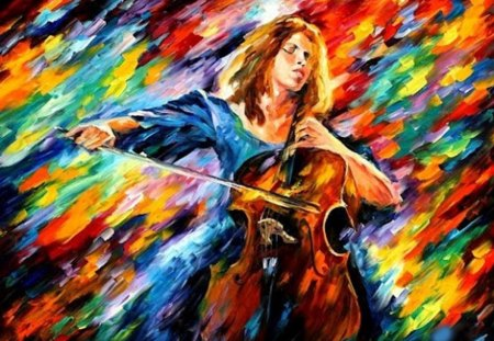 Colors of Music for Rosa - woman, cello, colors, love, music