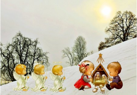 Christmas card - angel, manger, snow, winter, christmas, child