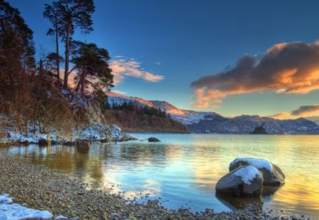 Winter Landscape - landscape, water, sunset, winter, beach