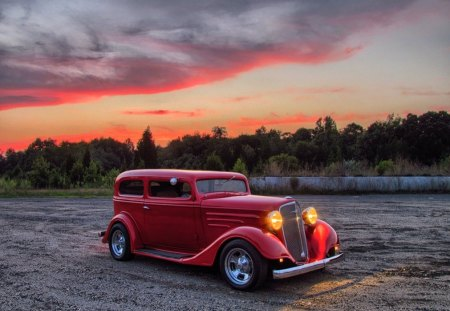 1934 Chevy Hotrod - sedan, 34, chevy, vintage, rod, trees, custom, 1934, car, hot, antique, chevrolet, lights, old, classic, hotrod