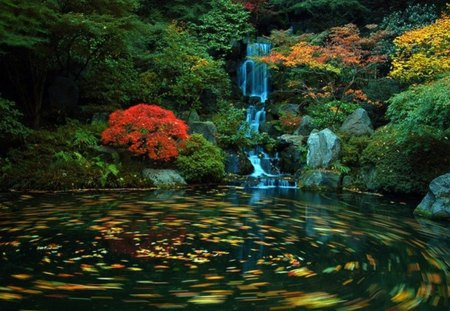 Japanese Garden - leaves, shrubs, lake, waterfall, autumn