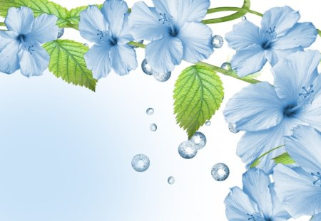 Blue Flowers - blue, flower, art, cg