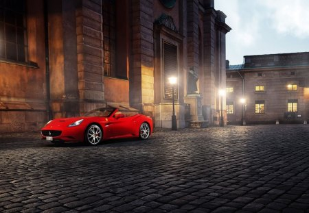 red ferrari cabrio - convertible, cobble stones, city, car, dusk