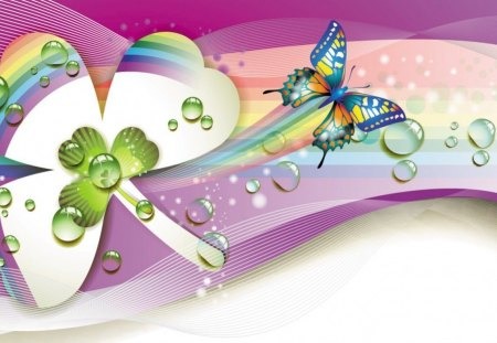 Butterfly Magic - green, shamrock, pink, abstract, blue, swirl, butterfly, purple, white