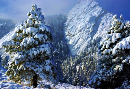 Flatiron Mountains First Snow - digital, art, abstract, beautiful