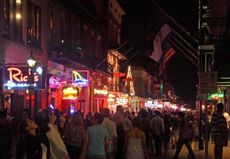 A Shot Of Bourbon (Street) - lights, people, street, night