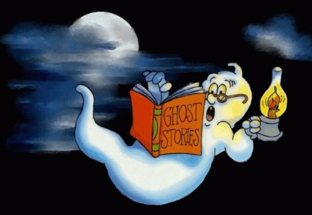 GHOSTLY READINGS - reading, ghost, moon, stories, night
