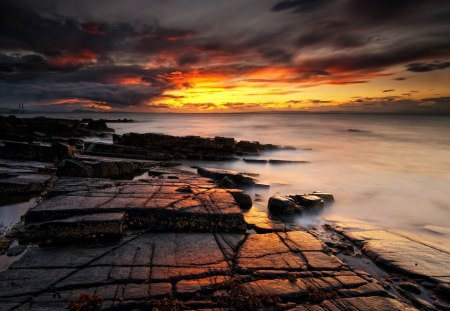 super sunset - clouds, sunset, rocks, coast, sea