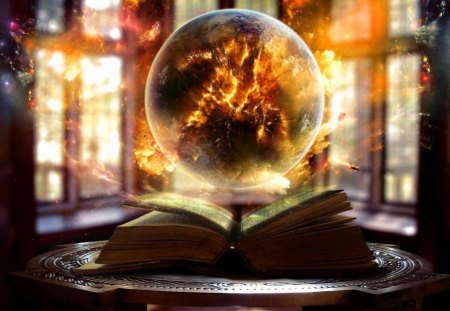 Magic light - pages, beautiful, orange, pretty, magical, nice, science, fantasy, book, fiery, rays, windows, lovely, table, golden, light, fire