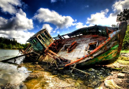 SHIP WRECK - wreck, river, abandoned, ship, hdr