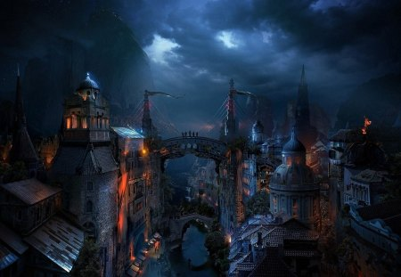 Fantasy place - abstract, art, city, fantasy, digital