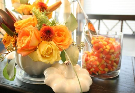 Floral FALL♥ - arrangement, flowers, orange, beautiful, floral, fall, autumn, enchanting, roses, decor, nature