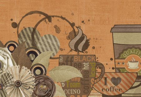 Coffee Time - spill, coffee break, flowers, cups, splash, browns, coffee, collage, mocha, java, joe, hearts, leaves, seattle, steam