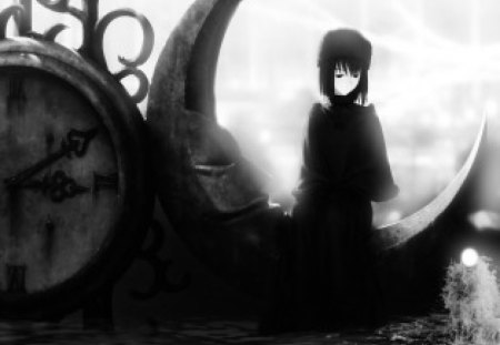Clock Lady - lady, clock, manga, shadows, anime