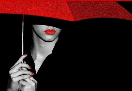 Lady With Red Umbrella - beautiful, mysterious, black and white, lady, red lips, woman, lipstick, red, lips, umbrella