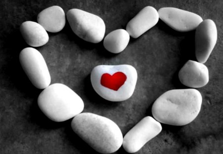 ♥ - pebbles, white, love, red, heart