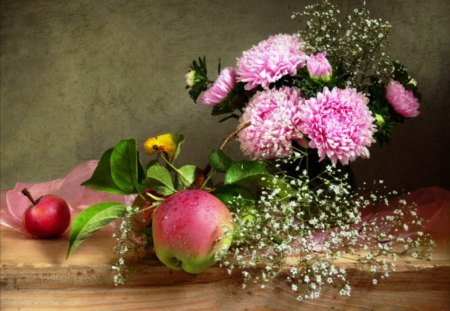 Freshness of autumn - flowers, pink, apples, autumn, fruit, fresh, still life, ripe, red