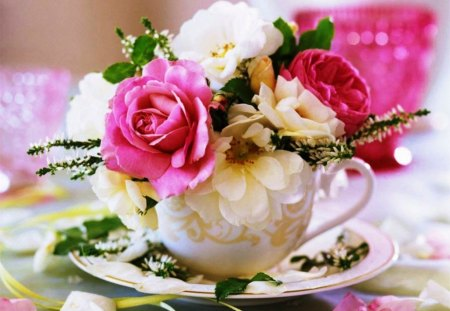 Joy in a cup with roses - flowers, happiness, cup, pink, abstract, saucer, photography, roses, white, nature