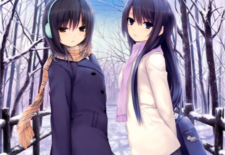 Winter - adorable, outside, female, cold, snow, coats, skirts, trees, headphones, cute, walking, school bag, outdoors, sisters, cat, black hair, scarves, winter, girls