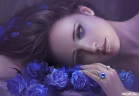 One purple dreamer♥ - flowers, purple, roses, dream, stare, love, nature, bouquet, young girl, dreamer, forver