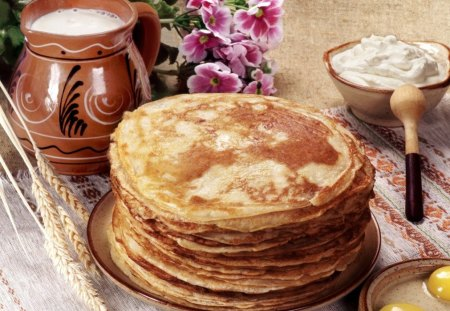 Delicios pancakes♥ - flowers, pancakes, delicious, nature, breackfast