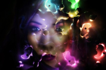 A sad but colorful face - colors, woman, abstractm art, face, girl