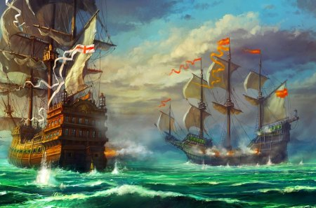 BATTLE SHIPS - sailing, ocean, clouds, battle, ships, art
