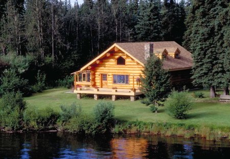 Beautiful Cabin Lakes Nature Background Wallpapers On