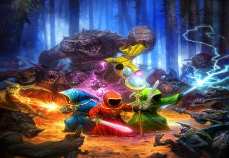 Wizards vs Goblins - moon staff, goblins, sword, trolls, forest, fire, wizards, lighting