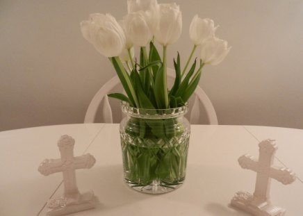 Baptism LIGHT♥ - green, flowers, beautiful, pure, forever, tulips, light, fresh, cross, white, love, nature, baptism, simple