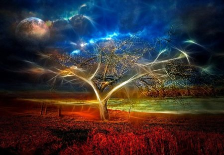 Magic Tree - digital, fantasy, magic, art, abstract, tree