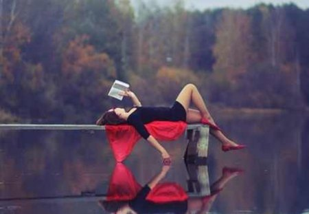 one true relaxation - girl, lake, pose, nature, book