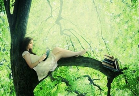 in full contact with nature - leaves, green, girl, pleasure, nature, tree, books