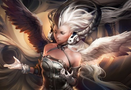 Ying Yang Goddess - fantasy, sexy, wings, cool, sakimichan, ying yang goddess, ying yang, glove, white hair, art, goddess, hot, long hair, closed eyes, headphone, angel