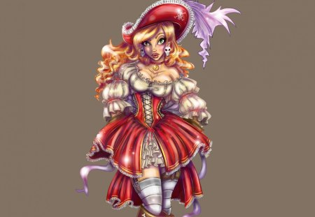 Cute Outfit - hat, outfit, youth, cute, attire, girl, stockings, fantasy woman, woman, feather, red, fantasy, dress