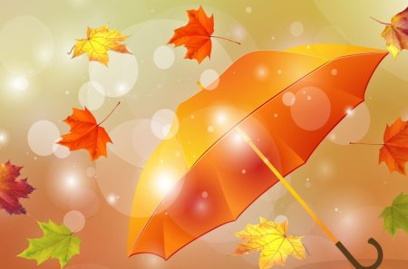 Winds of Autumn - glow, orange, bright, fall, autumn, leaves, light, sun light, chill, maple, wind, sun, gold, blowing, umbrella, breeze