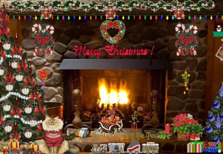 Christmas Fireplace - holidays, fireplace, holiday, christmas