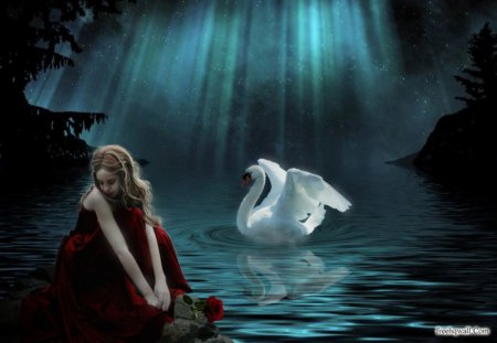 Sitting By the Pond - fantasy, swan, sitting, girl