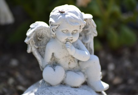 Adorable angel with heart - wings, heart, statue, angel