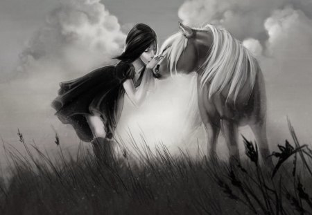 ♥ - horse, field, painting, friends, girl, wp, bw, love, nature, kiss